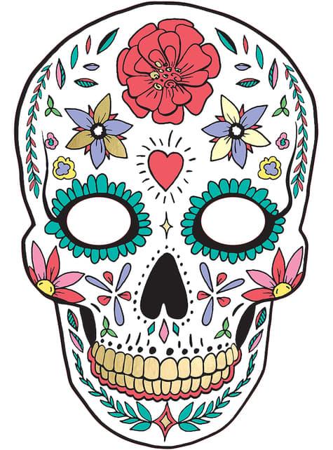 Máscara Caveira Mexicana branca - Día de los muertos
