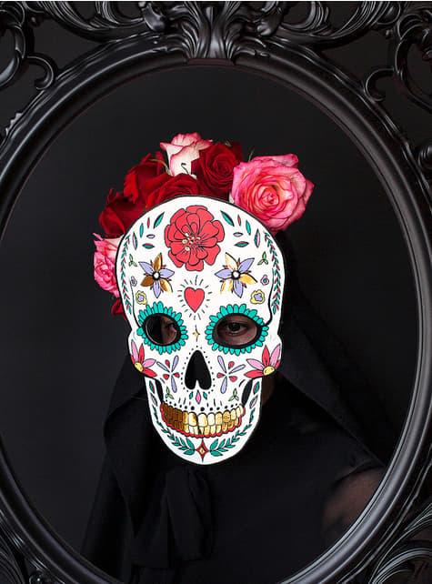 Máscara Caveira Mexicana branca - Día de los muertos - para as tuas festas