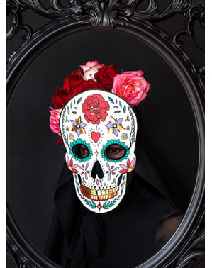 Vit Catrina Mask - Day of the Dead