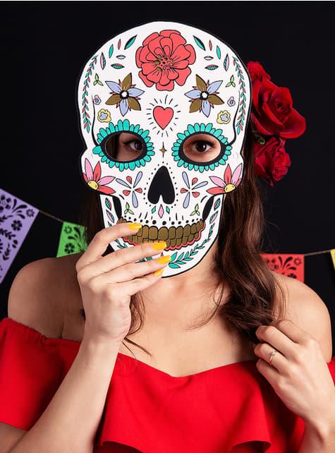 Máscara Caveira Mexicana branca - Día de los muertos - original