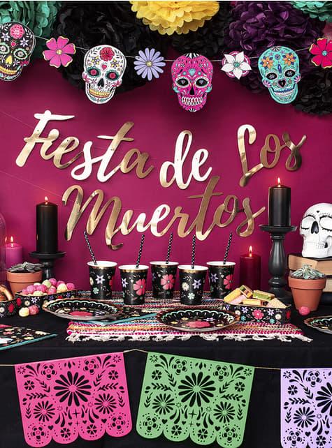 Máscara Caveira Mexicana preta - Día de los muertos