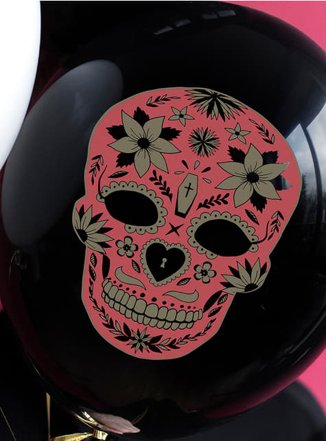 6 globos de Catrina negros - Día de los muertos