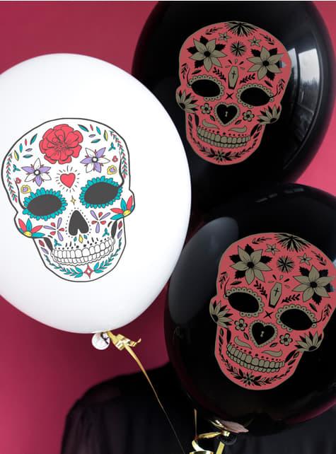 6 balões de Caveira Mexicana pretos - Día de los muertos  - para as tuas festas