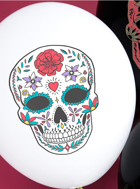 6 palloncini bianchi teschio messicano Catrina - Giorno dei Morti