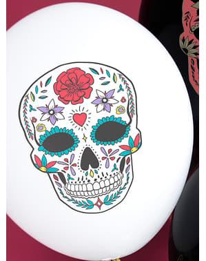 6 Catrina balloner i hvid - Día de los muertos