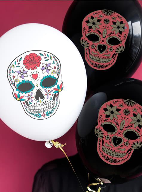 6 Catrina ballonnen in wit - Dag van de doden - voor themafeestjes