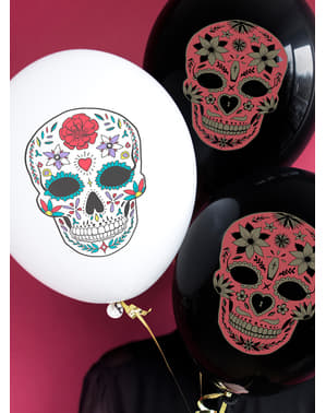 6 Catrina ballonger i vitt - Day of the Dead
