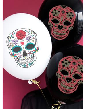 6 Catrina balloons in white - Día de los muertos