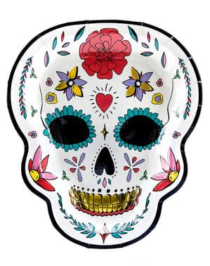 6 Catrina tallerkner i hvid - Day of the Dead