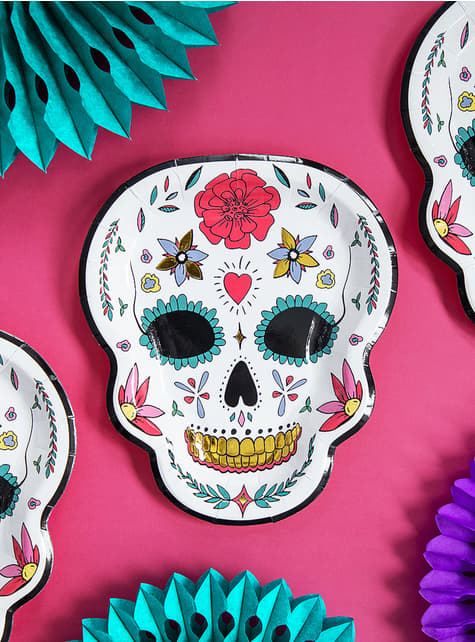 6 platos de Catrina blancos - Día de los muertos - para tus fiestas