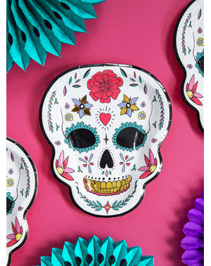 6 Catrina Plates in White - Day of the Dead