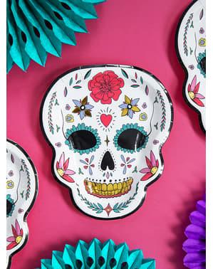 6 pratos de Caveira Mexicana brancos - Día de los muertos