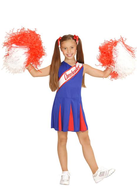 Fato de cheerleader azul para menina