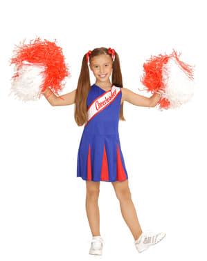 Blått Cheerleader Kostyme Jente