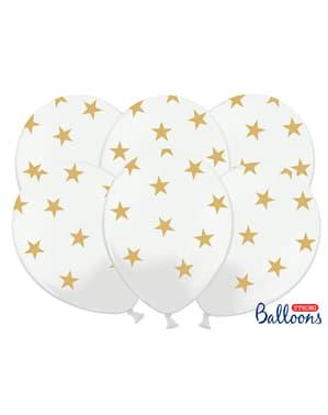 50бр. Балони  в бял цвят със златни звездички (30 см)