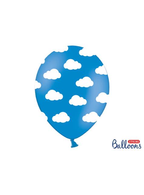 50 balões azuis com nuvens (30cm)