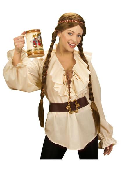 Camisa beige de pirata para mujer - hombre