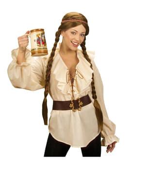 Beige piratskjorte til kvinder