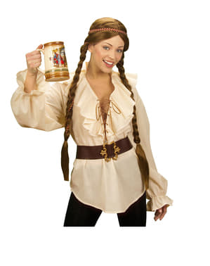 Camisa bege de pirata para mulher