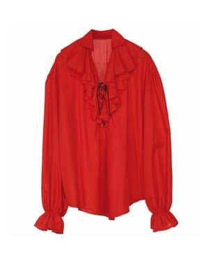 Camisa vermelha de pirata para mulher