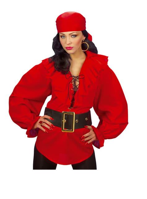 Camisa roja de pirata para mujer - original