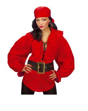 Chemise rouge de pirate femme