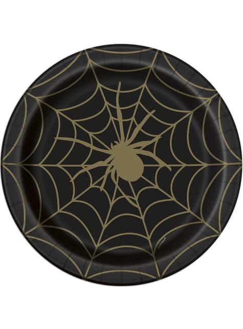 8 pratos pretos com teias (23 cm) - Golder Spider