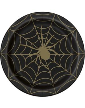 8 Cobweb Plates in Black (23 cm) - Golden Spider