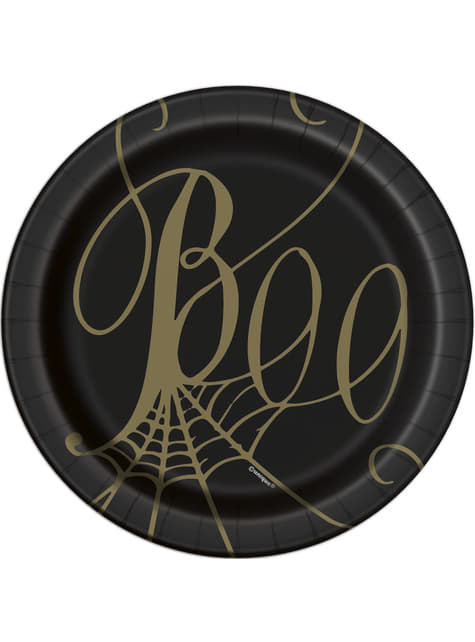8 Cobweb Dessert Plates in Black (18 cm) - Golden Spider