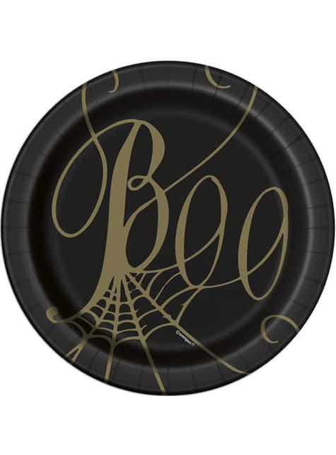 8 pratos de sobremesa pretos com teias (18 cm) - Golden Spider