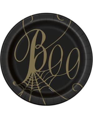 8 Cobweb Dessert Plates in Black (18 cm) - Golden Spider