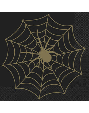 16 Cobweb Napkins in Black & Gold (33 cm)