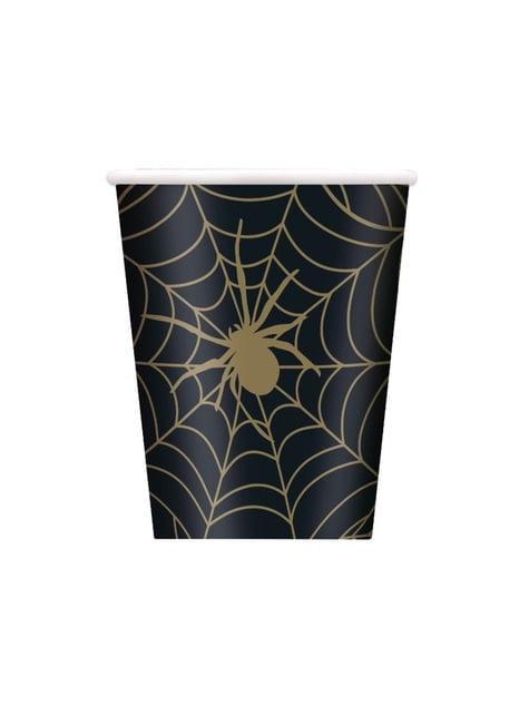 8 copos pretos com teias - Golden Spider
