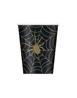 8 Cobweb Cups in Black - Golden Spider
