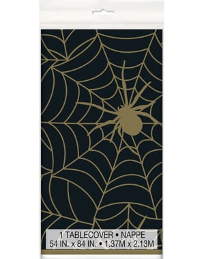 Cobweb Tablecloth in Black - Golden Spider