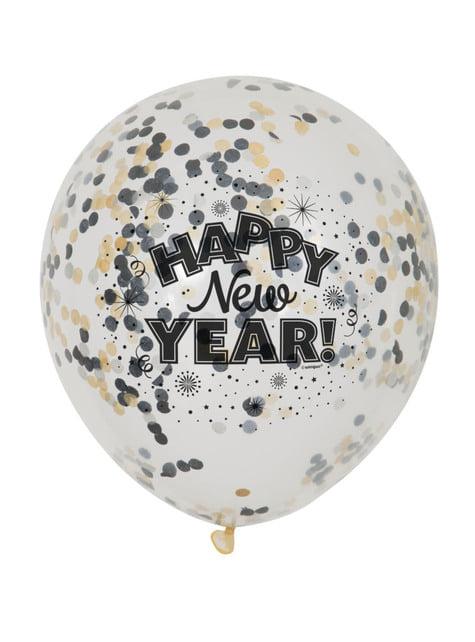 6 balões passagem de ano (30cm) - Happy New Year