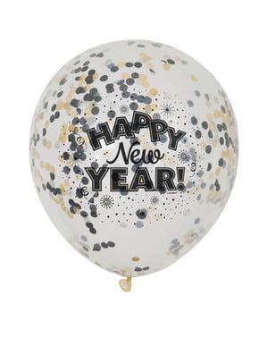 6 ballonger för Nyårsafton (30 cm) - Happy New Year!