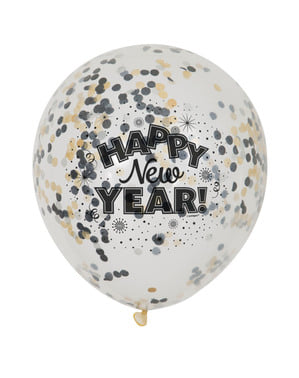6 Luftballons Silvester (30 cm) - Happy New Year!