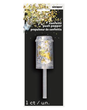 Mini canhão de confetes dourados e prateados