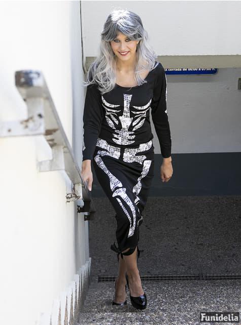 Disfraz de esqueleto negro para mujer - traje