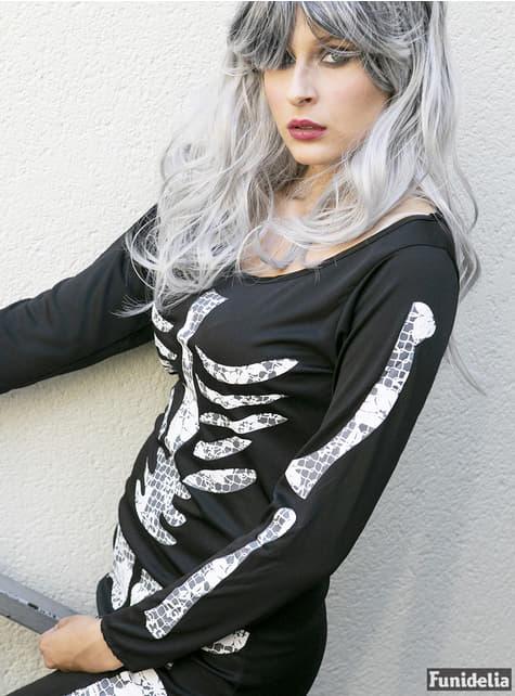 Déguisement de squelette noir pour femme