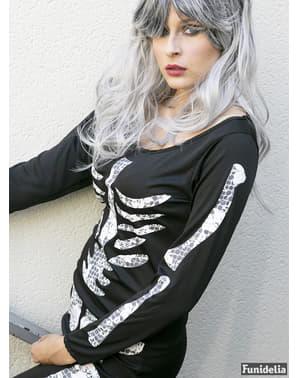 Fato de esqueleto preto para mulher
