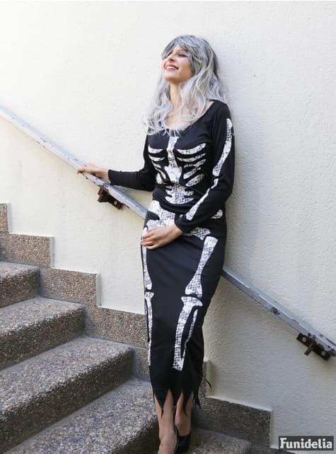 Costume scheletro nero da donna