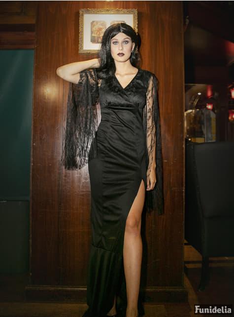Disfraz de Morticia aterradora para mujer - traje