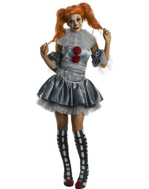 Pennywise Kostüm deluxe für Damen - IT The Movie