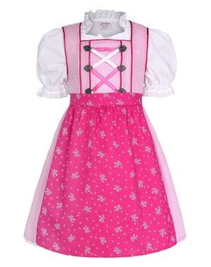 Баварска дриндл носия за Октоберфест в розово за момичета