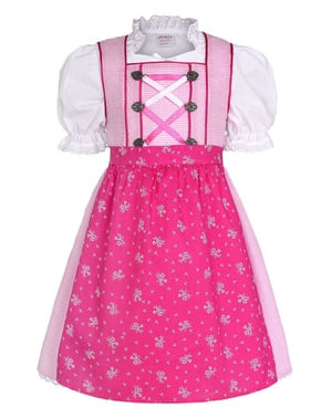 Dirndl Oktoberfest cor-de-rosa para menina