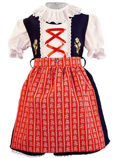 Oktoberfest Dirndl in Blue and Red for girls