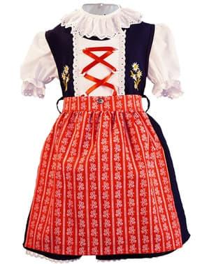 Dirndl Oktoberfest vermelho e azul para menina