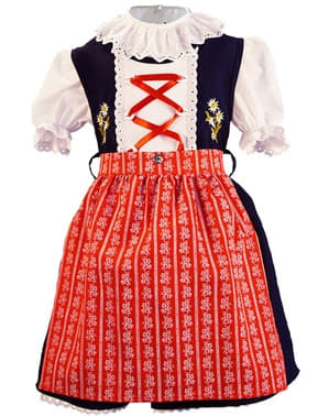 Dívčí Dirndl Oktoberfest červený, modrá